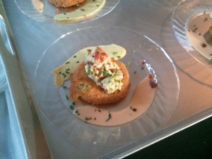 Veranda's Fried Green Tomato with King Crab/Avocado Salad